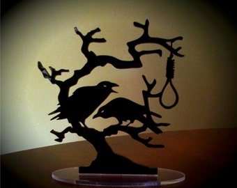 Raven Cake Topper, HANGING TREE Cake Topper, Crow Cake Topper, Halloween, Samhain *Original Design*