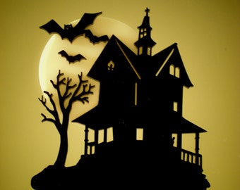Haunted House Cake Topper Multi-Color, Dark Spooky Night Bats Full Moon