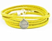 Suede Wrap Bracelet Imagine Charm Mustard Leather Charm Bracelet Inspirational Charm Bracelet