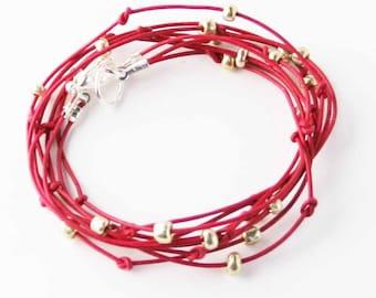 "Beaded Leather Wrap Bracelet Dark Fuschia and Silver ""Cameron"" Sundance Jewelry"