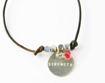 Leather Charm Bracelet Strength Dark Brown and Silver Hand Stamped Charm Inspirational Bracelet