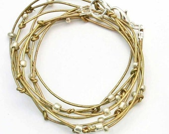 """Beaded Leather Wrap Bracelet Antique Gold and Silver Leather Wrap Bracelet """"Cameron"""" Sundance Jewelry"""