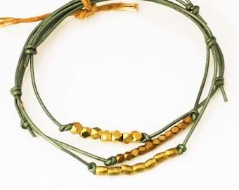 Beaded Leather Bracelets, Ocean Green, Set of 3 Friendship Bracelets, Sundance Jewelry, Adjustable