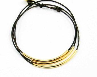 "Leather Wrap Bracelet Chocolate Brown and Gold ""Lori"" Triple Wrap Leather Bracelet, Beaded Leather Wrap Bracelet, Sundance Jewelry"