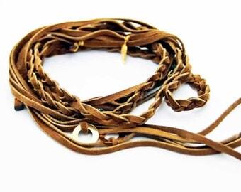 "Suede Braid Wrap Bracelet Camel ""Bohemian Rhapsody"" Suede Braid Necklace Free People"