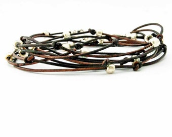 "Beaded Leather Wrap Bracelet Chocolate Brown and Silver ""Cameron"" Sundance Jewelry"