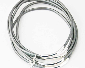 Leather Bangles with Flying Bird Charm, Silver, Set of 5, Leather Charm Bracelet