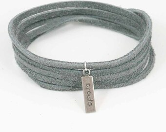 Suede Wrap Bracelet Create Charm Silver Grey  Leather Charm Bracelet Inspirational Charm Bracelet