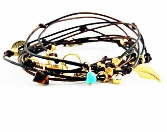 "Brown Leather Wrap Bracelet With Charms, Beaded Leather Wrap, Leather Charm Bracelet, Sundance Jewelry, Boho Chic Bracelet ""Cameron II"""