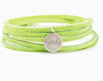 Suede Wrap Bracelet Wish Charm Kiwi Green Leather Charm Bracelet Inspiration Charm Bracelet