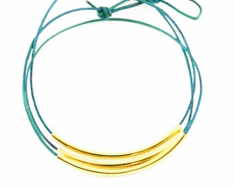 "Leather Wrap Bracelet Turquoise and Gold ""Lori"" Triple Wrap Leather Bracelet, Beaded Leather Wrap Bracelet, Sundance Jewelry"