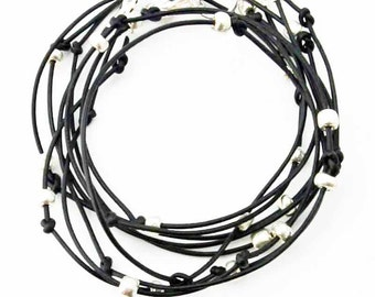 "Beaded Leather Wrap Bracelet Black and Silver ""Cameron"" Sundance Jewelry"