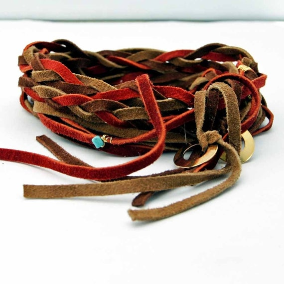"Suede Braid Wrap Bracelet Rust, Brown and Tan ""Bohemian Rhapsody"" Suede Braid Necklace"