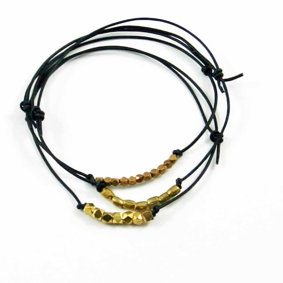 Beaded Leather Bracelets  Black  Set of 3  Friendship Bracelets Sundance Jewelry