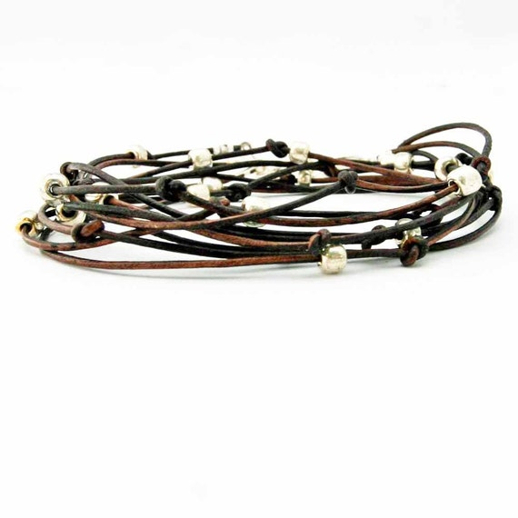 """Beaded Leather Wrap Bracelet Chocolate Brown and Silver """"Cameron"""" Sundance Jewelry"""