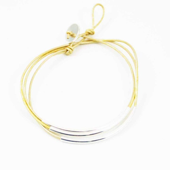 """Leather Wrap Bracelet Gold and Silver """"Lori"""" Triple Wrap Leather Bracelet, Beaded Leather Wrap Bracelet"""
