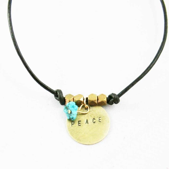 Leather Charm Bracelet Peace Dark Brown and Gold Hand Stamped Charm Inspirational Bracelet