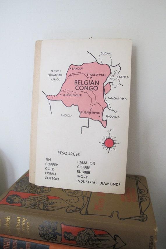 Vintage BELGIAN CONGO Educational Flashcard