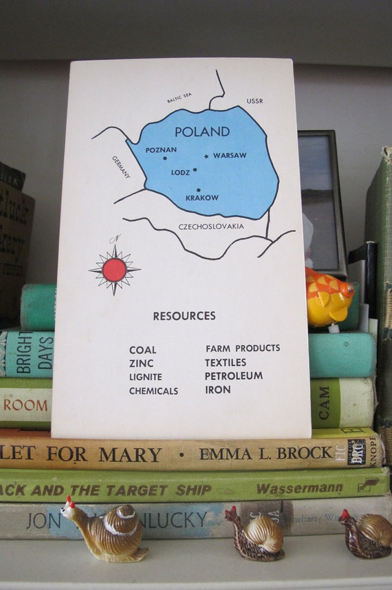 Vintage POLAND Educational Flashcard