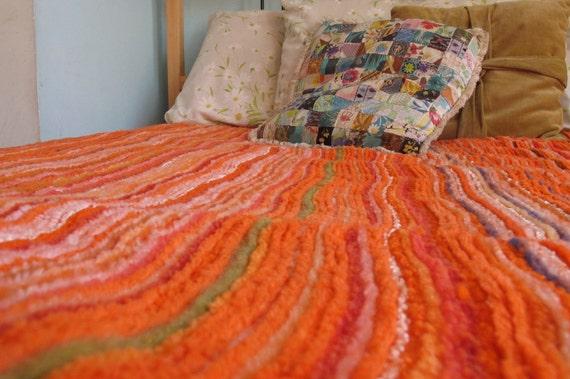 ON SALE Vintage 1970s Summer Tangerine Stripey Bedcover