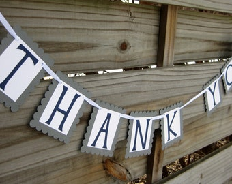 Thank You Banner in Grey and Navy Blue - Wedding Thank You Sign and Photo Prop