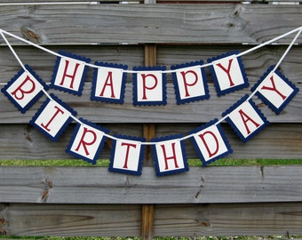 Happy Birthday Banner in Red and Blue - Birthday Bunting Party Decoration
