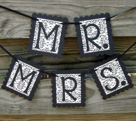 Mr. and Mrs. Chair Signs - Black Flourish