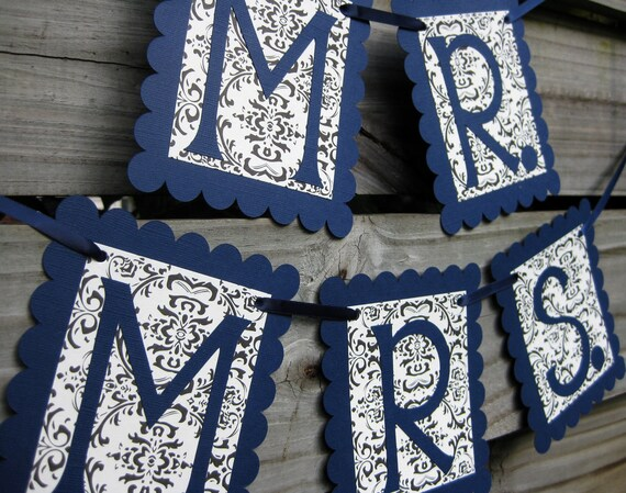 Mr. and Mrs. Chair Signs - Navy & Flourish