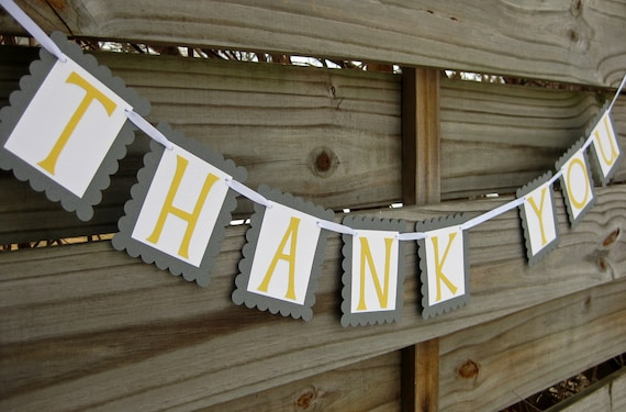 Thank You Banner in Grey and Yellow | Gray and Yellow Wedding Thank You Bunting