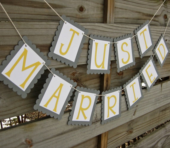 Just Married banner in Grey and Yellow - Wedding Decoration