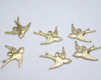 Six Brass Bird Charms