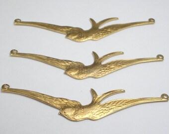 Three Raw Brass Soaring Bird Connectors