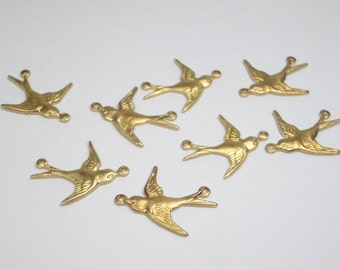 Bird Connectors, solid raw brass, two rings, 8 birds