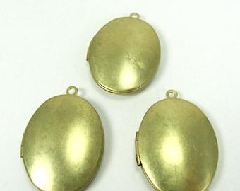 Vintage Oval Raw Brass Lockets - 3