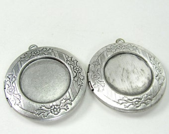 Two Heavy Sterling Plated Vintage Round Locket with Recess