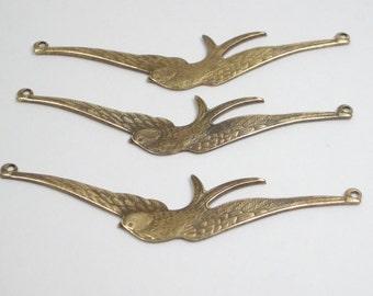 Three Antique Brass Soaring Bird Connectors