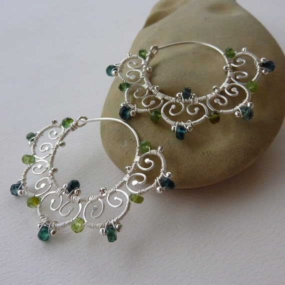 Blue Lotus Tribal Hoop Earrings