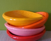 4 Cracker Bowls - small bowls in Orange - Tangerine  - Red and Pink - Wobbly Plates Series