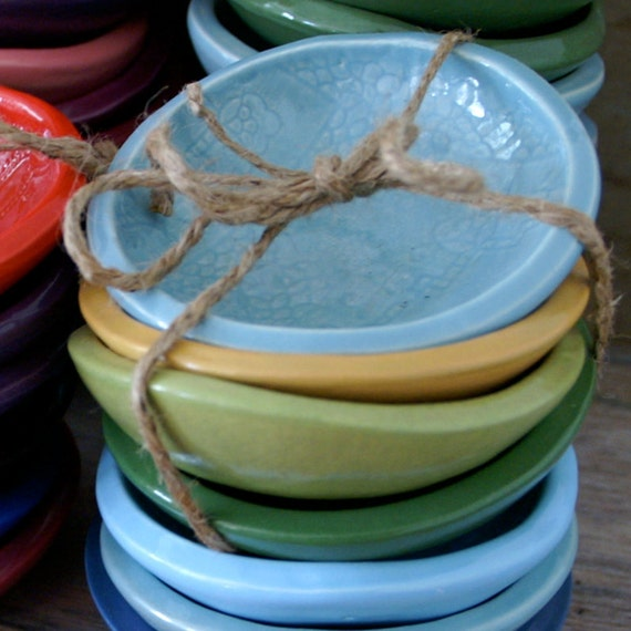 Turquoise Cracker Bowl - small textured ceramic bowl - Wobbly Plates Series
