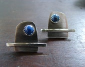 Modern. Moon rising over the lake on a silvery night earrings in sterling silver with lapis lazuli stones