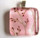 Pink Sky and Branches - Square Glass Art Pendant