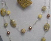 Crazy Lace Agate and Freshwater Pearl Necklace and Pendant One Of a Kind