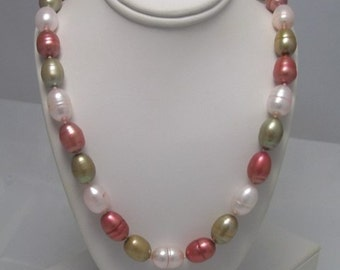 Genuine Freshwater  Multi Color Pearl Necklace fall colors