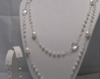 One Of A kind genuine cultured freshwater pearls  and faceted quartz in sterling silver