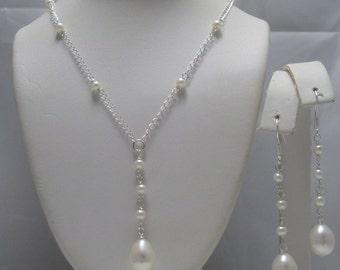 Genuine Freshwater Pearls Teardrop Shaped  Bridal  Y drop Necklace and Earrings Set