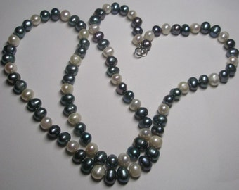 """The Green, Purplish Blue and White  32"""" Genuine  Freshwater Cultured Pearl Necklace 8.5mm and 9.5mm"""