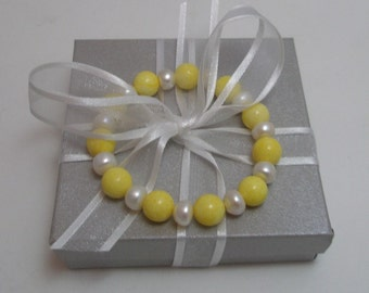 Stretch Bracelet Genuine Yellow Coral and Freshwater Pearl Bead Bracelet