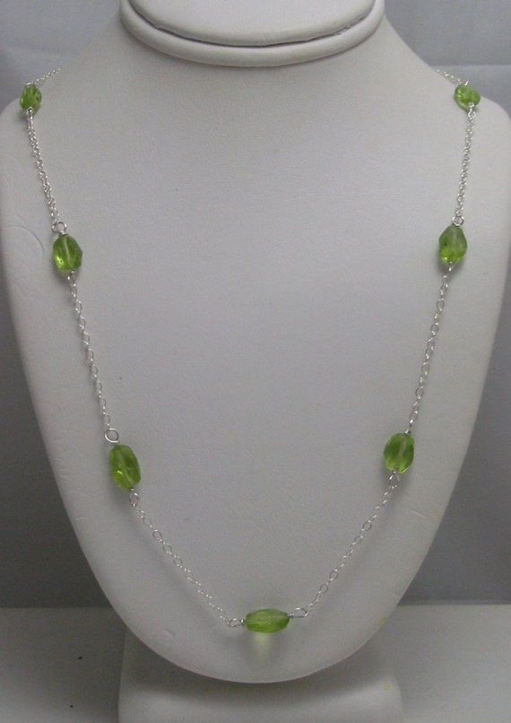 Genuine Faceted Peridot Necklace Hand Wired in Sterling Silver