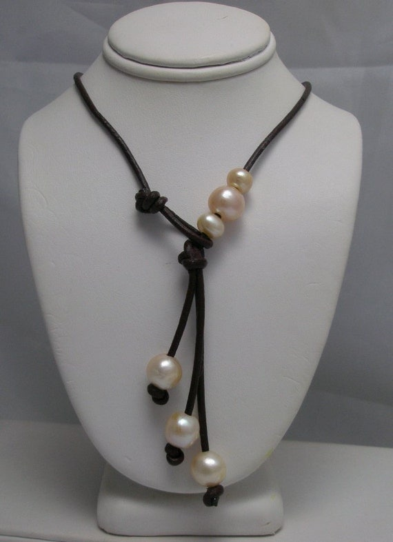 Genuine Pearl  Motion Lariat  Necklace with Pearl toggle clasp on Brown Leather
