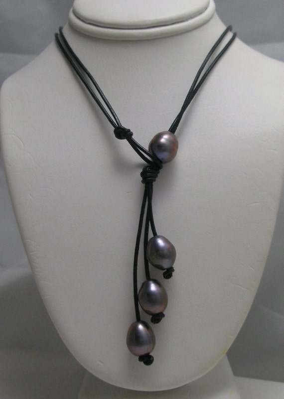 Genuine Pearl  Lariat Double strand Necklace with Pearl toggle clasp on.black Leather